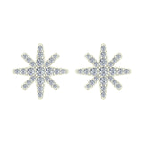 Starburst Pave Diamond Stud Earrings ½ ctw 14K Gold (I,I1) - White Gold