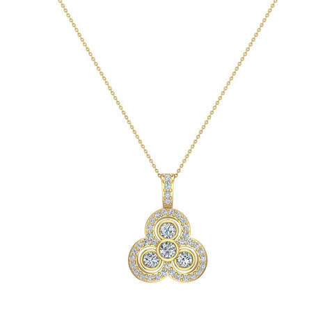 14K Gold Necklace Three stone Diamond Loop Pendant (G,SI) - Yellow Gold