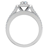 Round Cut Diamond Cushion Halo Split Shank Ring Set 14K Gold (G,I2) - White Gold