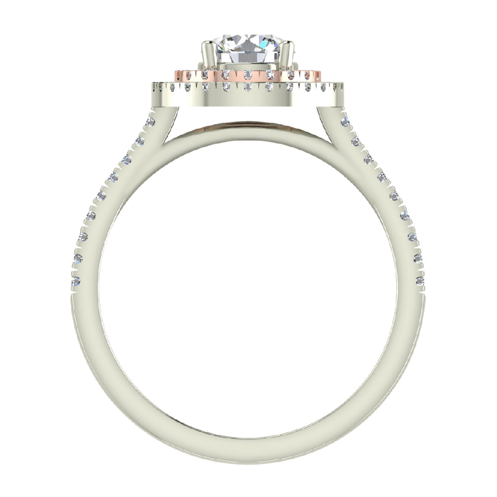 1.13 ct Twin Halo Engagement Ring Two-tone 14K Rose & White Gold (G,I1)