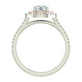 1.13 ct Twin Halo Engagement Ring Two-tone 14K Rose & White Gold (G,I1) - White Gold