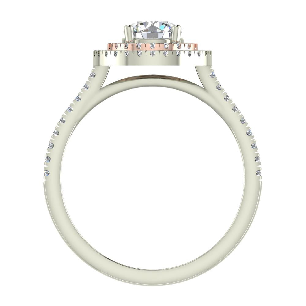 1.13 ct Twin Halo Engagement Ring Two-tone 18K Rose & White Gold (G,SI)
