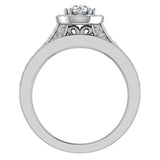 Halo with Accent Diamonds Wedding Ring Set 18K Gold (G,VS) - White Gold