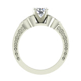 0.78 Carat Art Deco Trinity Knot Engagement Ring 14K Gold (I,I1) - White Gold