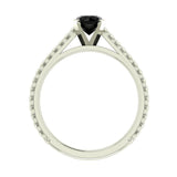 Black Round Brilliant Cut Rope Setting Solitaire Engagement Ring 14K Gold - White Gold