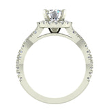 Twist Shank Halo Diamond Engagement Ring 4 Prong Setting 1.44 Carat Total Weight 14K Gold (G,SI) - White Gold