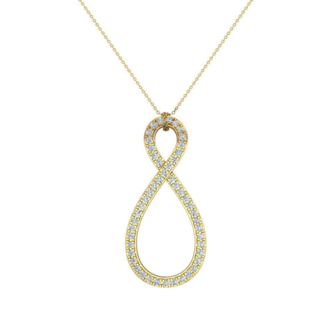 14K Gold Necklace 1.15 ct tw Diamond Infinity Pendant (G,SI) - Yellow Gold