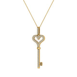 18K Gold Key to your Heart Diamond Necklace ¼ ctw (G,SI) - Yellow Gold