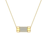 14K Gold Necklace Pave Diamonds Eternity Contemporary Capsule Shape Pendant 3/4 Carat Total Weight (I,I1) - Yellow Gold