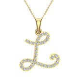 Initial Necklace L Letter charms Diamond pendant necklace 18K Gold (G,VS) - Yellow Gold