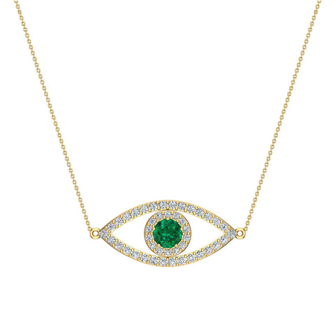 Completely new 0.94 Carat Evil Eye Diamond & Sapphires Pendant 14K Gold Necklace  CN38