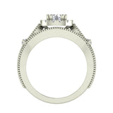 Vintage Halo Diamond Engagement Ring Millgrain Style w/ Band 1.51 Carat Total Weight 14K Gold (G,SI) - White Gold