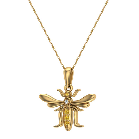 Insect Pendant Mosquito Charm Fly Necklace 14K Gold 0.09 ctw - Yellow Gold