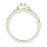 Princess Cut Square Halo Diamond Wedding Ring Set 0.59 Carat Total 18K Gold (G,VS) - White Gold