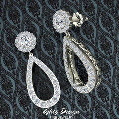 Fashion Diamond Dangle Earrings Artisanal Tear Drop 14K Gold (G,SI)