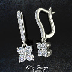 Diamond Cluster Dangle Diamond Earrings 14K Gold (G,SI)