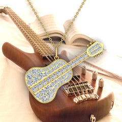0.36 Carat Guitar Instrument Charm Diamond Necklace Music Jewelry 18K Gold (G,SI)