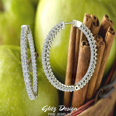 Exquisite 34.69 mm Diameter Inside Out Diamond Hoop Earrings 1.80 Ctw 14K Gold Shared Prong Setting (G,SI)