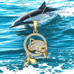 Bottle-Nose Dolphin 18K Gold Necklace Diamond Charm Pendant 0.74 Carat Total Weight (G,VS)