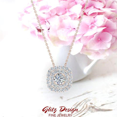 Cushion Shape Double Halo Diamond Necklace 14K Gold 0.29 ctw (G,SI)