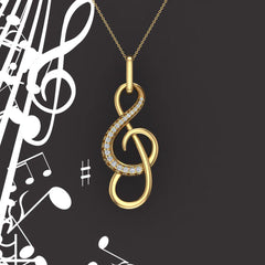 Treble Clef Minimalist Music Notation Charm 18K Gold Diamond Necklace 0.23 Carat Total Weight (G,VS)