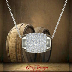 Barrel Shape Charm Pendant Pave Diamonds Eternity 1.17 Carat Total Weight (G,SI)