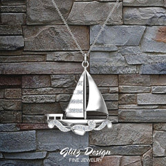 18K Gold Nautical Necklace Sailboat Diamond Charm 0.34 ctw (G,SI)