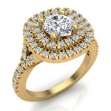 Cushion Halo Diamond Engagement Ring 1.35 Carat Total Weight Y Style Setting 18K Gold (G,VS) - Yellow Gold
