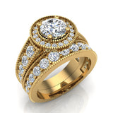 2.24 Carat Solitaire Diamond Halo And Simple Studded Shank Wedding Ring Set 18K Gold (G,SI) - Yellow Gold