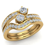 Two-Stone Diamond Ring Set with wedding band 14K Gold (I,I1) - Yellow Gold