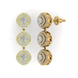 Fashion Diamond Dangle Earrings Exquisite Waterfall Cushion Halo 18K Gold (G,VS) - Yellow Gold