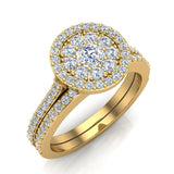Illusion Solitaire Diamond Wedding Ring Set 14K Gold (I,I1) - Yellow Gold