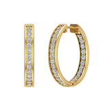 14K Gold Hoop Earrings 21 mm Diamond Line Setting Secure Click-in Lock (G,SI) - Yellow Gold