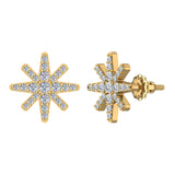 Starburst Pave Diamond Stud Earrings ½ ctw 14K Gold (I,I1) - Yellow Gold
