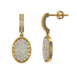 Pave Set Oval Dangle Diamond Earrings 14K Gold (I,I1) - Yellow Gold