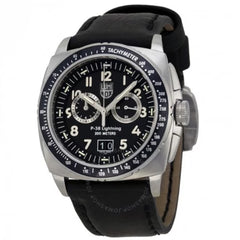 Chronograph Black Dial Black Leather Men's Watch A.9441