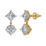 Princess & Round Drop Two stone Diamond Dangle Earrings 18K Gold (G,VS) - Yellow Gold
