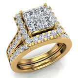 Princess Cut Wedding Rings Set for Women 14K Gold Quad Illusion 1.80 ct tw (I, I1) - Yellow Gold