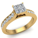 Four Quad Princess Cut Diamond Cathedral Accent Engagement Ring 14K Gold (G,SI) - Yellow Gold