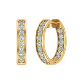 14K Gold Hoop Earrings 18mm Diamond Line Setting Secure Click-in Lock (I,I1) - Yellow Gold