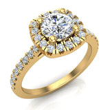 Ravishing Round Cushion Halo Diamond Wedding Ring 1.15 ctw 14K Gold (I,I1) - Yellow Gold