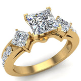 1.15 ct tw Princess Cut Center Diamond Engagement Ring 14K Gold (I,I1) - Yellow Gold