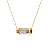 14K Gold Necklace Pave Diamonds Eternity Contemporary Capsule Shape Pendant 3/4 Carat Total Weight (G,SI) - Yellow Gold