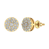 Round Cluster Diamond Earrings 0.56 ctw 18K Gold (G,VS) - Yellow Gold