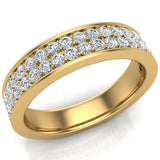 Men's Diamond Wedding Band 0.75 ctw Two-Row Half Way Men's 14K Gold 5mm (G,VS) - Yellow Gold
