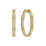 14K Gold Hoop Earrings 29 mm Diamond Line Setting Secure Click-in Lock (G,SI) - Yellow Gold
