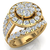 2.50 ct tw Cluster Diamond Wedding Ring Set with Bands 14K Gold (I,I1) - Yellow Gold