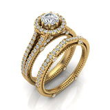 Vintage Look Split Shank Diamond Engagement Ring Set 14K Gold (G,SI) - Yellow Gold