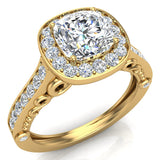 Cushion Halo Filigree Engagement Ring 14K Gold (I,I1) - Yellow Gold