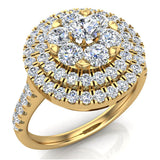Double Halo with Solitaire look Diamond Cluster Ring 18K Gold (G,VS)